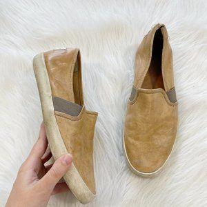 FRYE Dylan Tan Leather Slip On Sneakers SZ 6.5